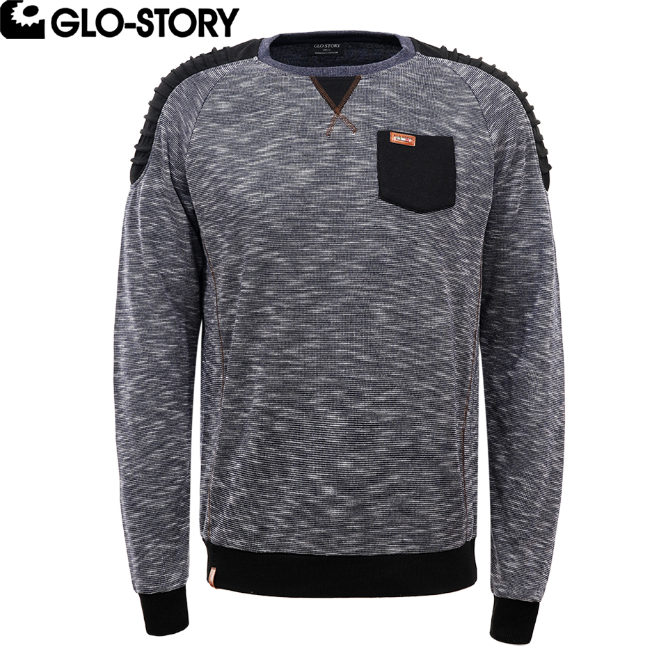 GLO-STORY Mens European High Quality Jumper Sweatshirt Men Shoulder Black Patchwork Punk Fashion Sweat Coat MPU-4488