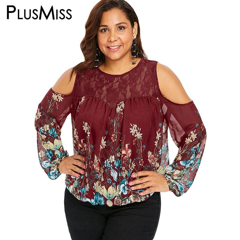 8d6122a75eadc PlusMiss Plus Size 5XL Sexy Cold Shoulder Lace Mesh Sheer Blouse XXXXL XXXL  XXL Big Women