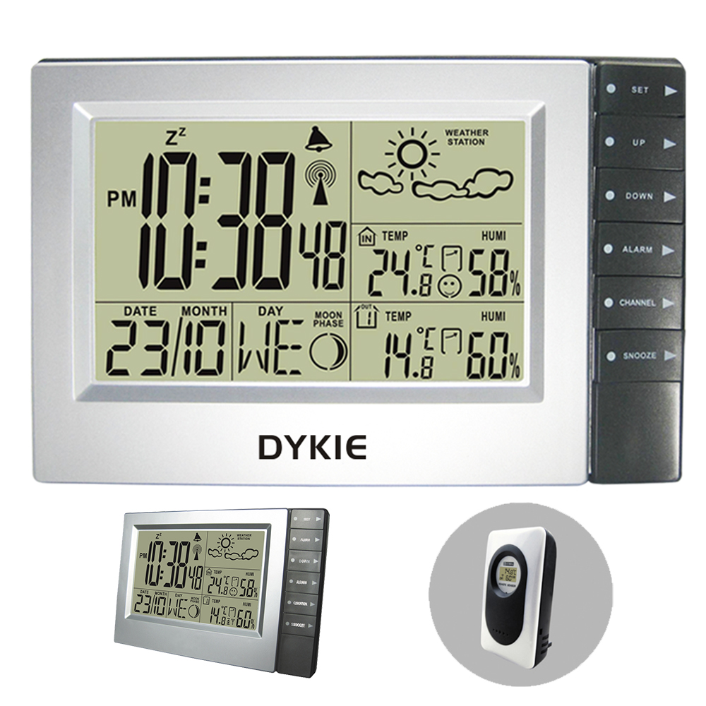 DYKIE Free Shipping RF Wireless Weather Station with Home Office Digital Atomic Alarm Clock Indoor Outdoor Thermometer Humidity все цены
