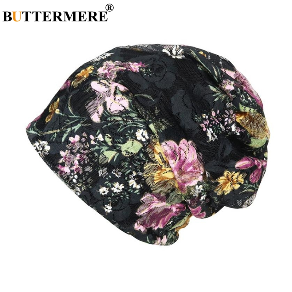 BUTTERMERE Lace Womens Chemo Hats Flower Muslim Turban Pile Heap Cap Black White Headscarf Bandana Headwear   Skullies     Beanies
