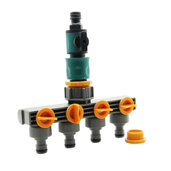 1 Set (3 Pcs) 4 Way Shunt Water Pipe Connector Hose Splitter With Quick Connectors Control Valve Garden Watering Irrigation