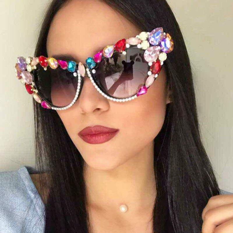 2018 Oversize Cat Eye Sunglasses Women Fashion Designer Luxury Crystal Crystal Sun Sun për Zonja Oculos De Sol Feminino
