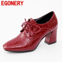 EGONERY women shoes office ladies career pumps ladies cross tied classic style patent PU leather high heels woman working pumps
