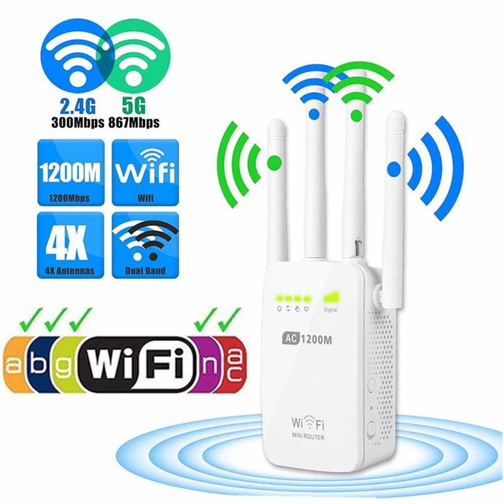 1200M 2.4GHz 5GHz Dual Band Wireless WIFI Repeater Range AC Extender Repeater Router Button with  External Antenna1200M 2.4GHz 5GHz Dual Band Wireless WIFI Repeater Range AC Extender Repeater Router Button with  External Antenna