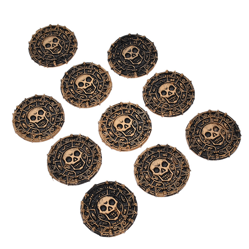 Lychee 10pcs Plastic Pirate Coins Decorative Non-currency Coins DIY Home Decoration Crafts Party Supplies