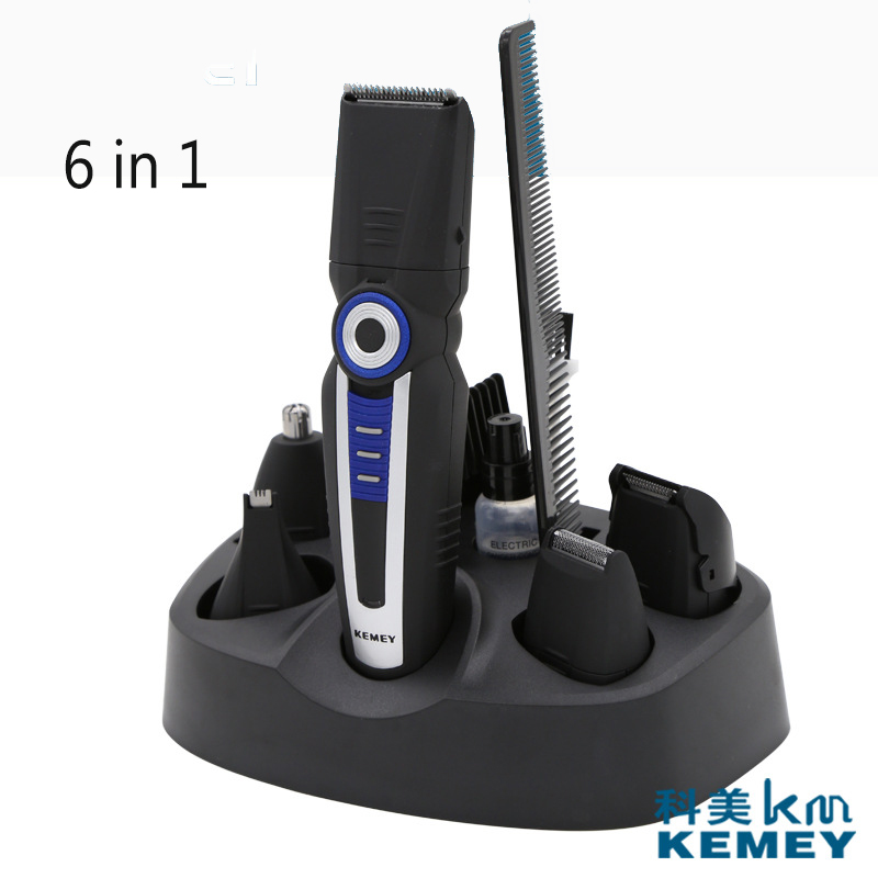 Kemei 6 in 1 Trimmer Hair Clipper Beard Trimmer Nose Ear Shaver Razor Electric Shaver