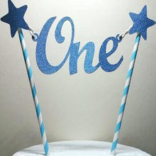 1 Pcs Baby 1st Happy Birthday Cake Topper Letter One Glitter Star Cake Toppers Straws Bunting Banner Party Cake DIY Crafts Decor(China)