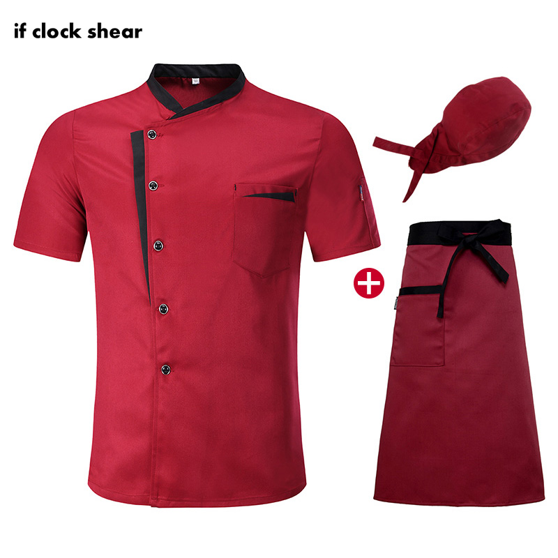 Food Service Unisex Short Sleeve Chef Restaurant Uniform Hotel Kitchen Work Clothes Breathable Thin Chef Jacket M-4XL Chef Coat