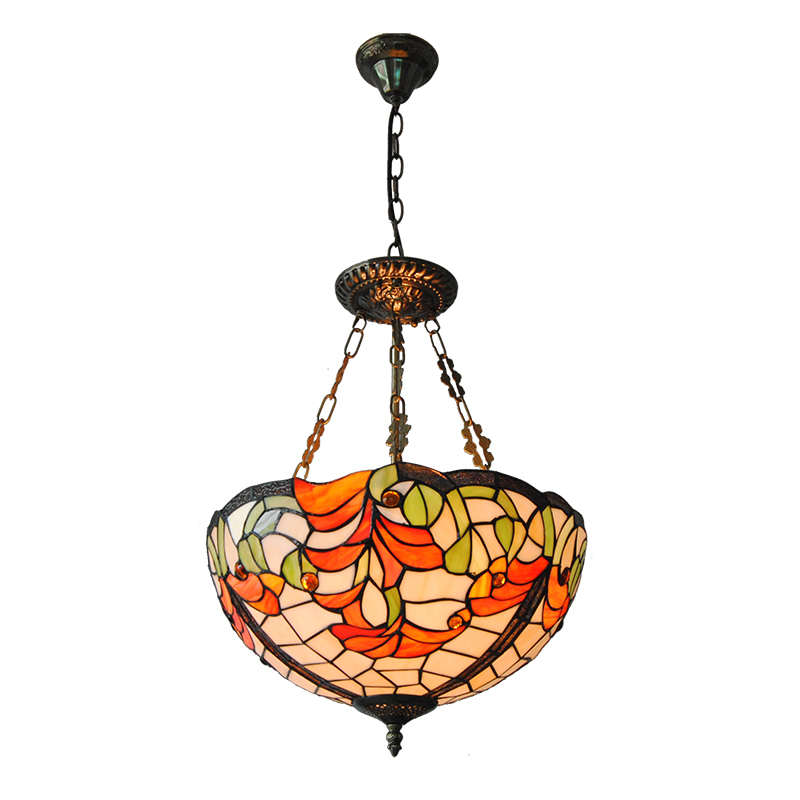 Tiffany Style Pendant 3-light Inverted Fixture European Vintage Stained Glass Entry Hallway Lighting Fixtures Home Decor PL780 5 mediterranean tiffany flower hanging lights vintage stained glass shell bar cafe hallway ceiling lamp fixtures lighting cl254