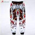 Sportlover calças casais mulheres / homens engraçado 3d jogger calças de cartões de K / pá Q de rosto bandana corredores moletom