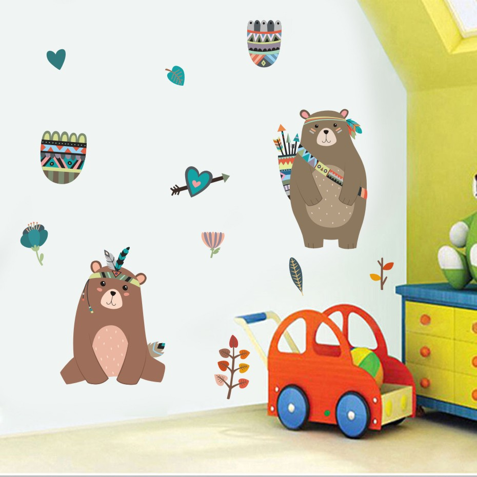 Indien Style de Bande Dessinée Ours Stickers Muraux Pour Enfants Chambre Décoration Mignon Animaux Bricolage Affiche Mur Art Stickers Décoration Murale