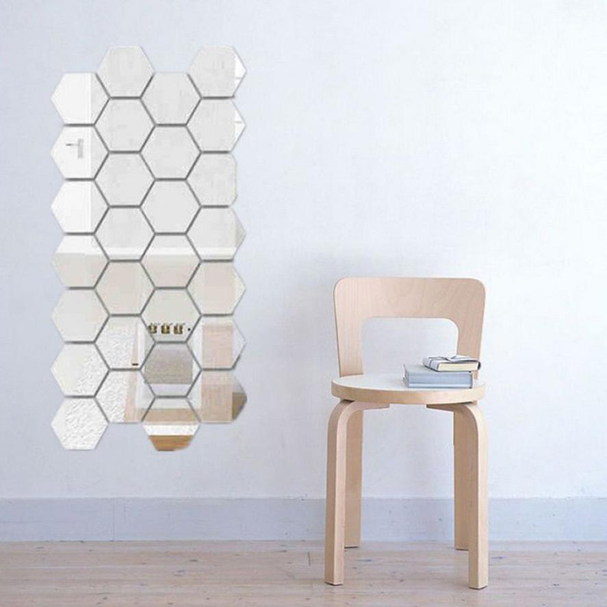 Aliexpress.com : Buy 12Pcs 3D Mirror Hexagon Vinyl ...
