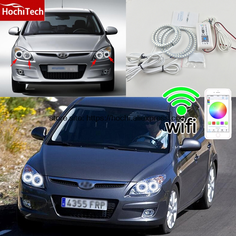 HochiTech Excellent RGB Multi-Color halo rings kit car styling for Hyundai i30 2008-2011 angel eyes wifi remote control hochitech excellent rgb multi color halo rings kit car styling for volkswagen vw golf 5 mk5 03 09 angel eyes wifi remote control