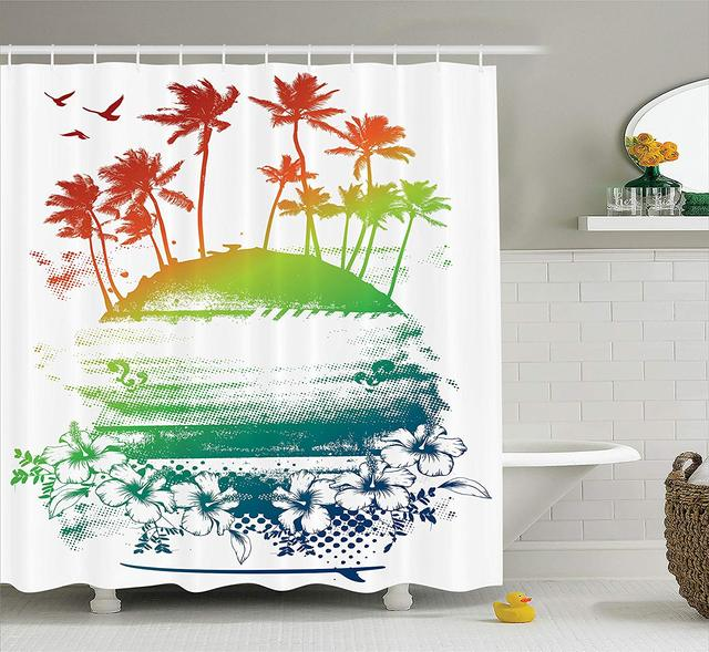 Ocean Island Shower Curtain Grunge Style Artsy Inky Colorful Summer Scenery With Palms Hawaiian Hibiscus Flowers Bathroom Decor