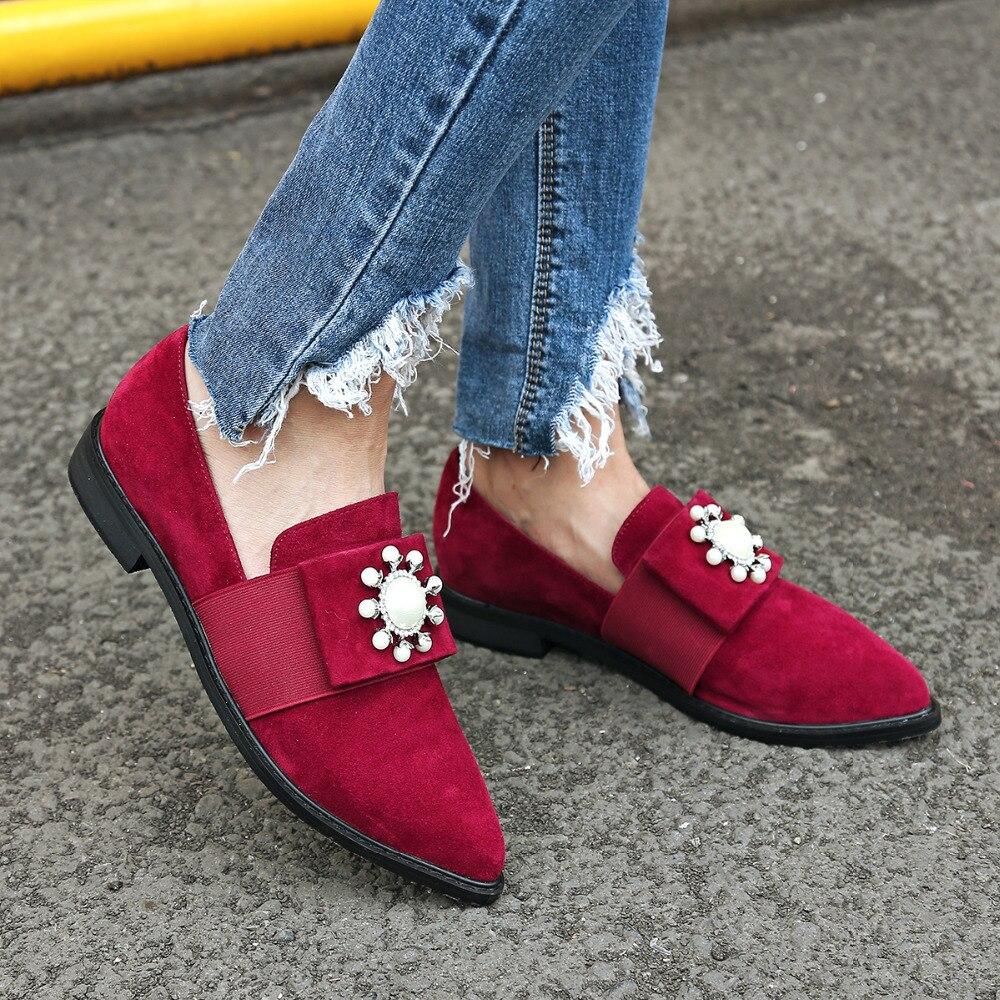 font b women s b font korean style sweet bowtie beading slip on loafers moccasins