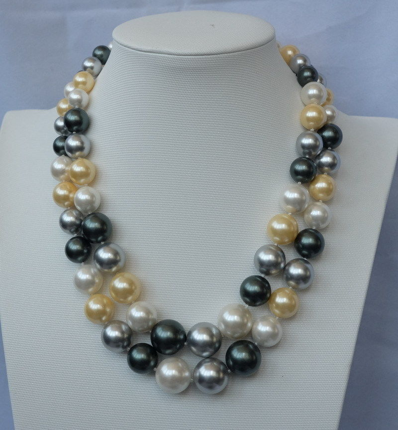 2strds Multi color sea shell pearls necklace