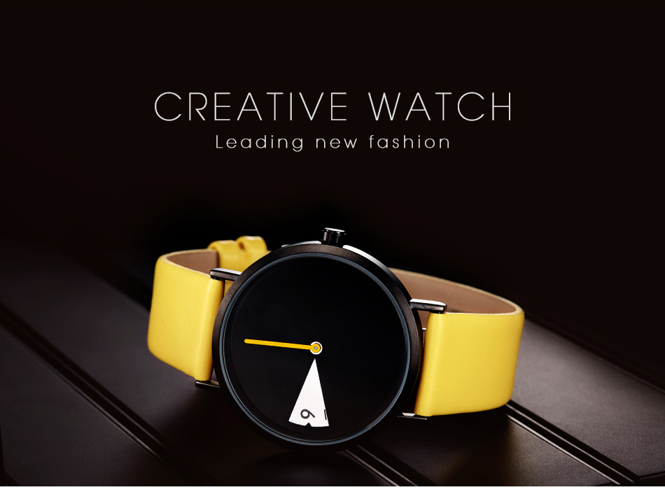LADY CLOCK ROTATE YELLOW LEATHER BAND WRISTWATCHES CLOCK