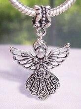 50pcs Fashion Jewelry Wholesale Antique Silver Guardian Angel Charm Pendant  Suit Necklace&Bracelet Fitting DIY shipping B790