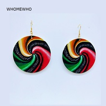 Unfinished Wood Round Africa Rainbow Lollipop Tribal Earrings Women Retro Wooden African Hiphop Jewelry Party Club Accessories unfinished wood printing africa girl round drop earrings wooden african hiphop tribal handmade diy jewelry natural accessories