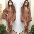 2017 new tan chiffon women jumpsuit romper Long sleeve drawstring one piece overalls Sexy deep v neck playsuits
