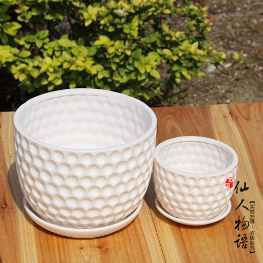 Ceramic POTS/large and medium sized indoor potted flower POTS/tray ...