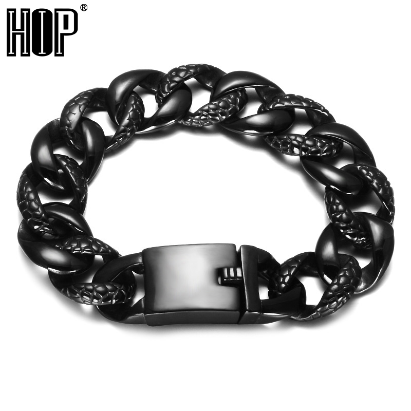 HIP Motorcycle Biker Heavy Rock Mens Bracelet Black Color 316L Stainless Steel Curb Cuban Link Chain Bracelets For Men Jewelry trustylan shiny glossy 316l stainless steel mens bracelets 2018 20mm wide chain bracelets jewellery accessory man bracelet