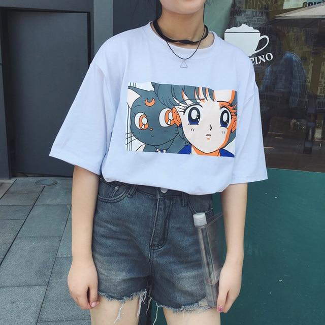 a721b54e8f9 2018 Autumn clothing Korea ulzzang women bts new Harajuku kawaii moon cat  cartoon girl print loose