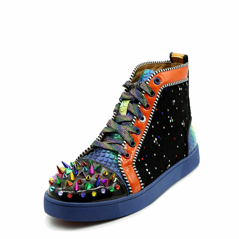 ... Qianruiti Men Mixed Color Spike Shoes Fish Scale Patchwork Multicolor  Rhinestone Sneaker Lace-up Flat ... d70375d50686
