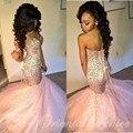 2017 cristales de la chispa con cuentas africano de color rosa prom dresses mermaid negro chicas de lujo party dress corset largos vestidos de noche formales