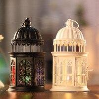 1Pc Classic Candle Holder Iron Glass Door Handle Candlestick Hanging Lantern Metal Craft Home Wedding Pendant
