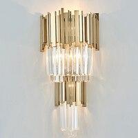Высокое качество настенный светильник кристалл современный золото бра огни AC110V 220 В блеск гостиная, спальня светильники