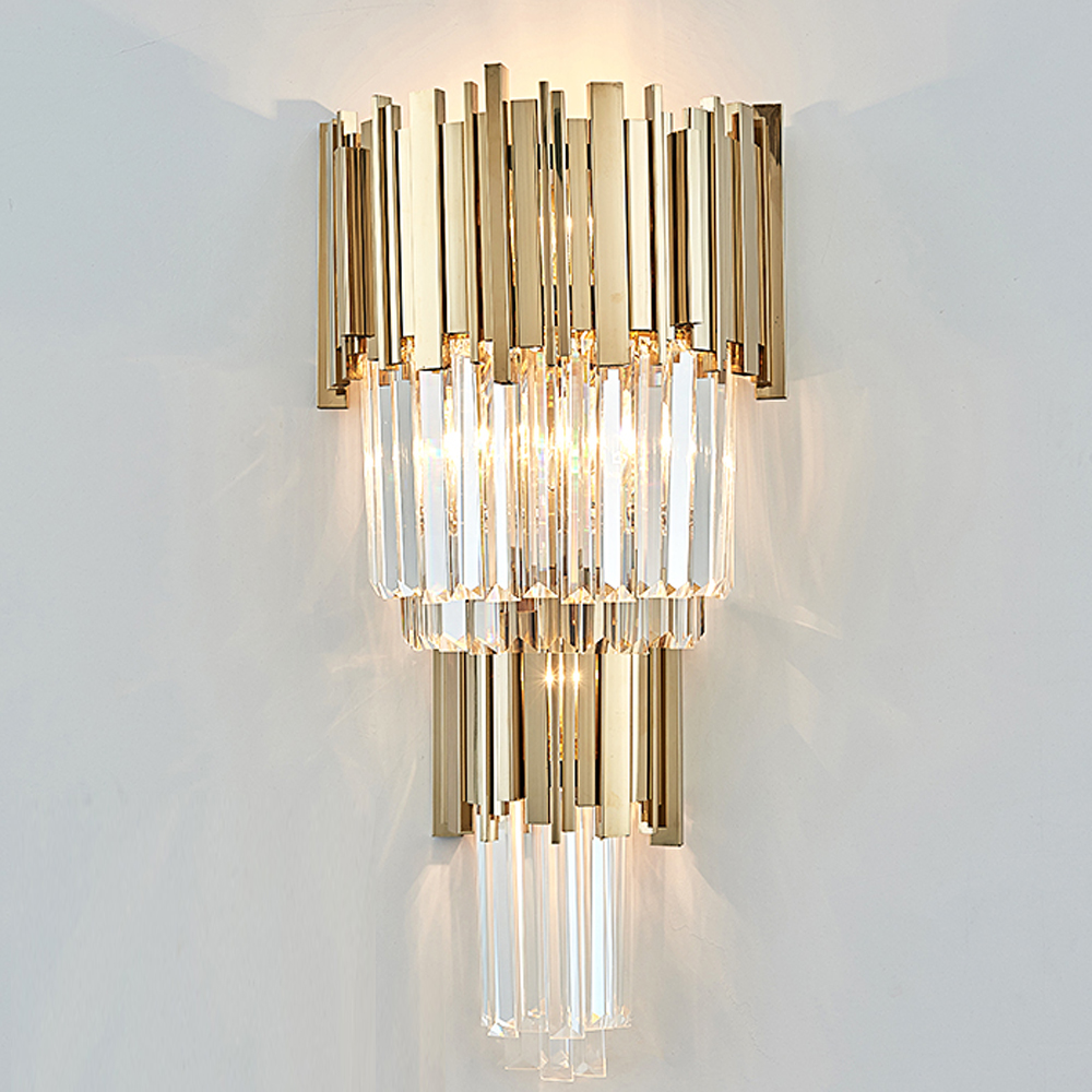 pretty nice cbd01 e8e95 US $194.91 11% OFF|high quality crystal wall lamp modern gold sconce lights  AC110V 220V lustre living room bedroom light fixtures-in LED Indoor Wall ...
