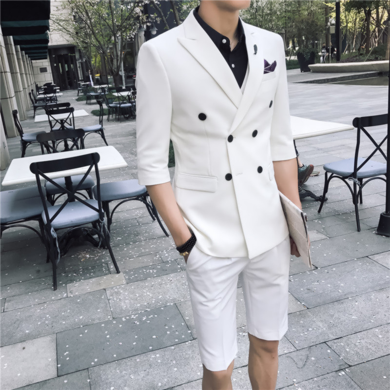 Summer <font><b>men's</b></font> <font><b>suit</b></font> fashion double-breasted casual <font><b>short</b></font>-sleeved <font><b>suit</b></font> two-piece <font><b>suit</b></font> (jacket + <font><b>shorts</b></font>) <font><b>men's</b></font> business casual <font><b>suits</b></font> image