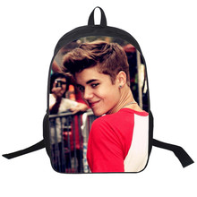цены на 2017 New Women Bags Justin bieber 3D printing Backpack Students School Bag For Teenage Girls Boys Backpacks Rucksack mochila  в интернет-магазинах