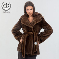 2018 New Real Mink Fur Coat Lapel Collar With Slim Belt Coat Fur Natural Women Real Mink Fur Outwear Jacket Genuine Warm MKW 091