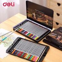 Deli Professional Watercolor Pencils Set For Drawing Painting 48 Colors Sketch Tin Box Art School Supplies