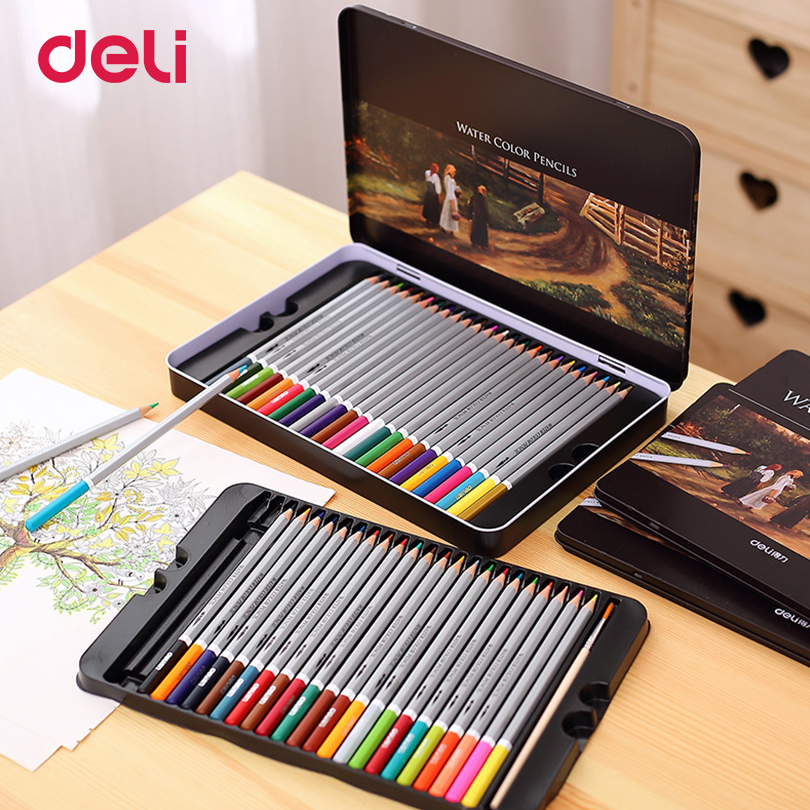 Deli Professional color Pencils Set for Drawing 48 Colors Painting Sketch Tin Box Art School artist