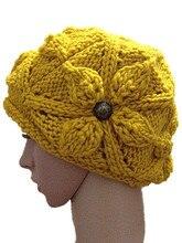 Осень зима четыре кнопки шапки мода ручной вязаные шапки женщин на открытом воздухе теплой шерсти лыжные шапочки