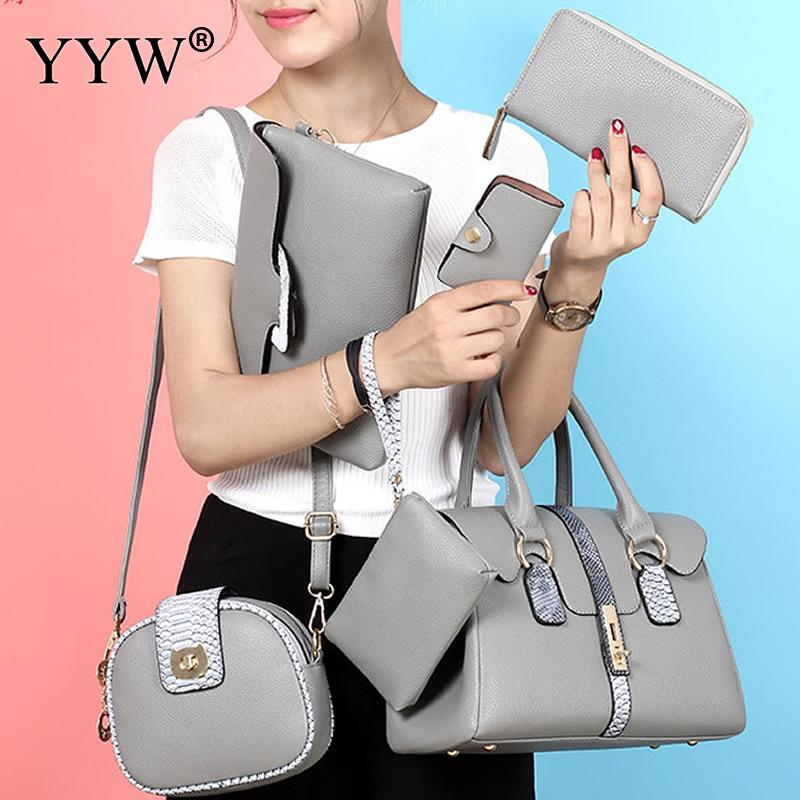 6 Piece Handbag Sets Wallets and Bags for PU Leather Luxury Designer Handbags Female Sho ...