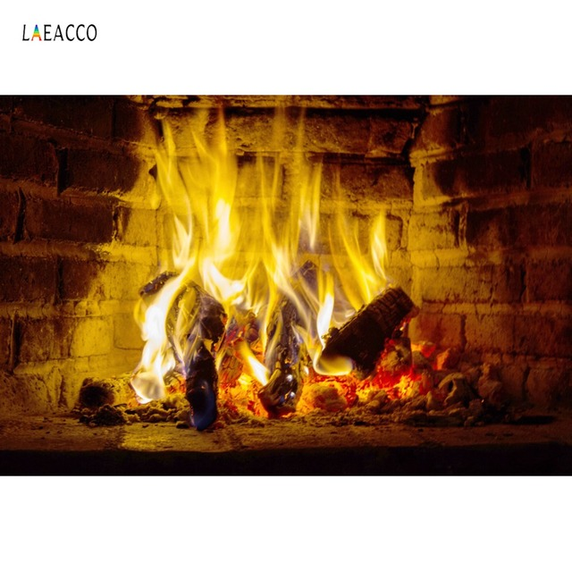 Laeacco Photographic Backgrounds Wood Pieces Fire Flame Fireplace Pattern Scenic Photography Backdrops Photocall Photo Studio