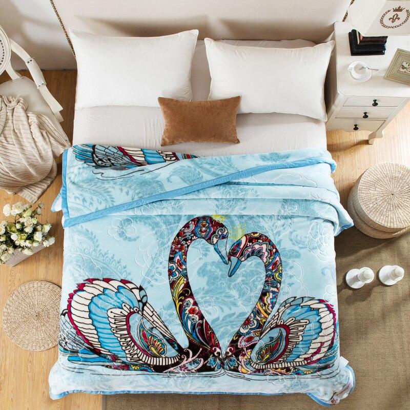 Рашелевое одеяло зима теплый плед домашнее постельное белье 195*225 см 3000 г Лебедь