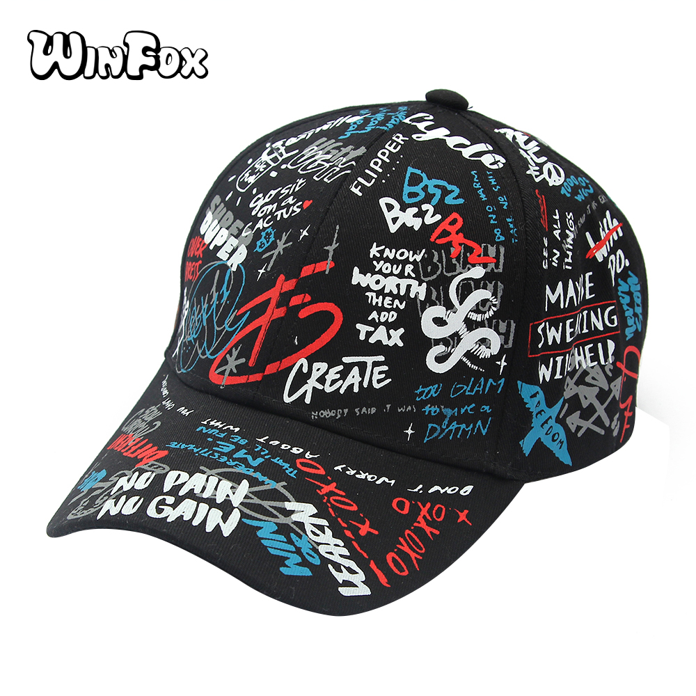 Winfox New Fashion Korea Black White Graffiti Letter Print   Baseball     Caps   Dad Hats For Womens Mens