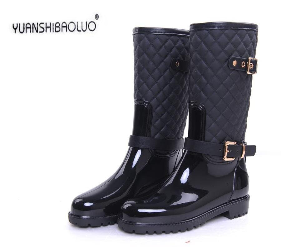 ФОТО South Korea winter fashion Martin boots female cone ensure waterproof non-slip rain boots female adult water shoe rubber shoes
