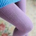 Ações de moda outono inverno malha meia calça elástica listrado cor sólida meias coxa alta meias