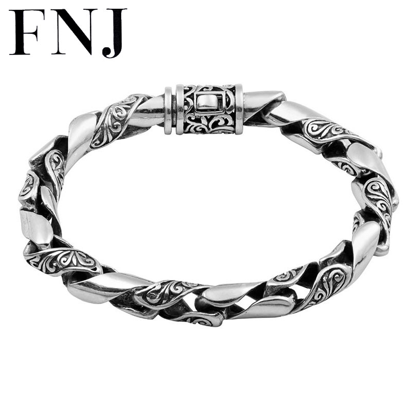 8MM 100 Real Pure 925 Sterling Silver Bracelets for Women Men Fine Jewelry Vintage S925 Solid