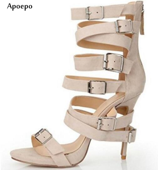Apoepo Nude PU Leather High Heel Sandal 2018 Sexy Open Toe Buckle Strap Gladiator Sandal Narrow-band Cutouts Thin Heels Sandal fashion 2017 solid ankle buckle thin high heel fashion hollow out round toe narrow band concise woman summer sandal