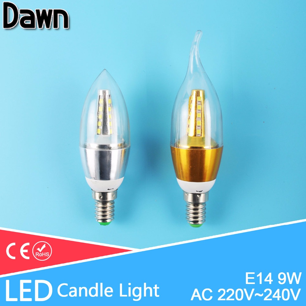 Top Quality 9w Golden Silver E14 LED Candle Light Aluminum Shell LED Bulb 220V Led Lamp E14 Cool Warm White Ampoule Bombillas candle led bulb e14 9w 12w aluminum shell e14 led light lamp 220v golden silver cool warm white ampoule lampara led smd 2835
