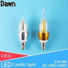 Top Quality 9w Golden Silver E14 LED Candle Light Aluminum Shell LED Bulb 220V Led Lamp E14 Cool Warm White Ampoule Bombillas