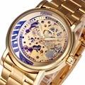 2016 Lua Projeto de Discagem Esqueleto Homem Relógio de Ouro de LUXO Relógios MECÂNICOS AUTOMÁTICOS HOMENS Relógios TOP MARCA de LUXO Cinta Substituível + BOX