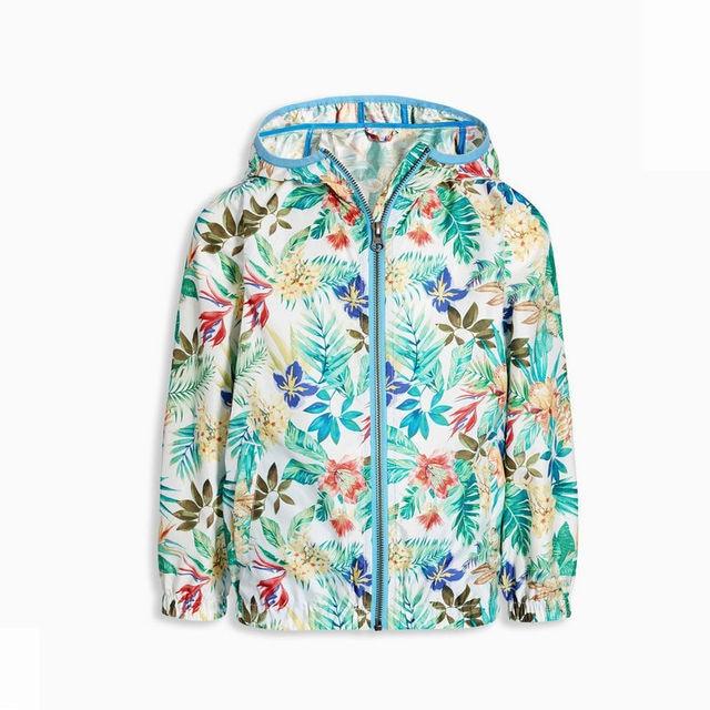New 2016 Girls Baby hooded jacket leaves Floral zipper windbreaker wholesale